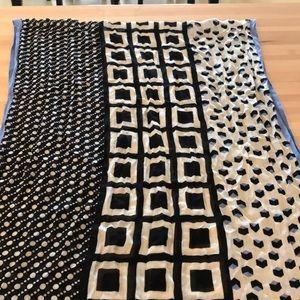 Talbots scarf, lightweight black, white, and blue